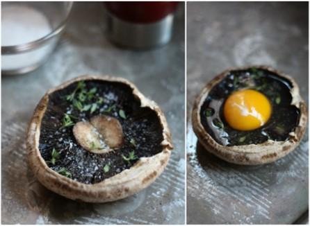Baked Eggs in Portobello Caps