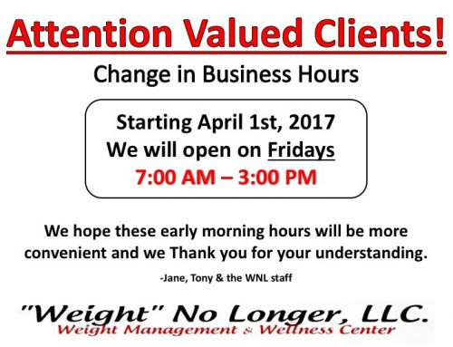 Change in Business Hours: Fridays Only